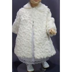 Manteau fourrure de baptême fille ivoire