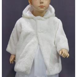 Manteau fourrure blanc perle cérémonie baptême fille
