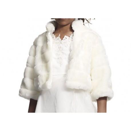 62475f36eed4b Manteau fourrure synthétique pour fille en ivoire ou blanc 2 au 16 ans
