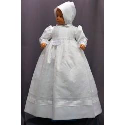 Robe longue de baptême traditionnelle blanche bébé CLAUDE