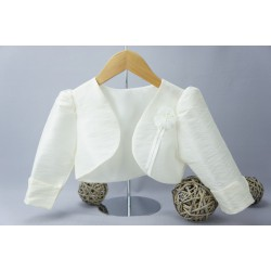 Boléro de cérémonie fille en taffetas blanc ou ivoire