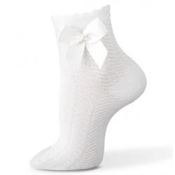 Chaussette blanche cérémonie fille résille noeud satin