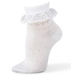 Chaussette blanche cérémonie fille dentelle résille