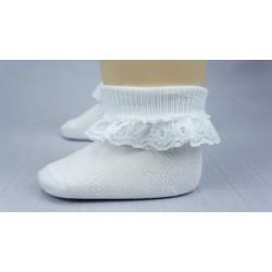 Chaussette ivoire ou blanche cérémonie fille dentelle