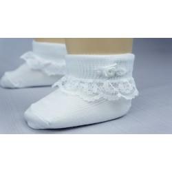 Chaussette blanche cérémonie fille résille dentelle