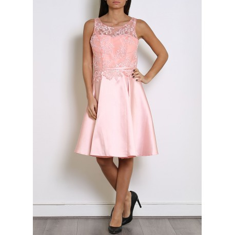Robe cocktail dentelle satin