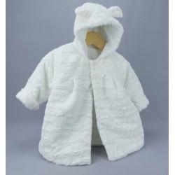 Manteau fourrure de baptême fille blanc