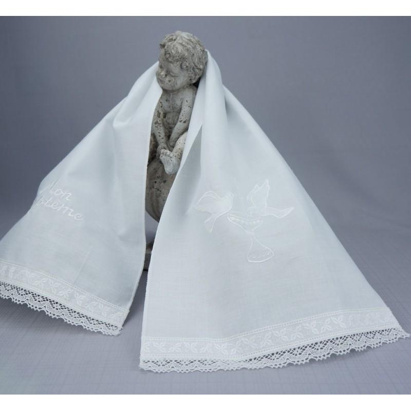 6832a3de1253 Echarpe, étole, serviette, linge,lange ou vêtement blanc baptême Ref01