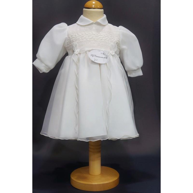 ddfb1c4844755 Robe cérémonie baptême blanche bébé fille manches longues CHLOE ...