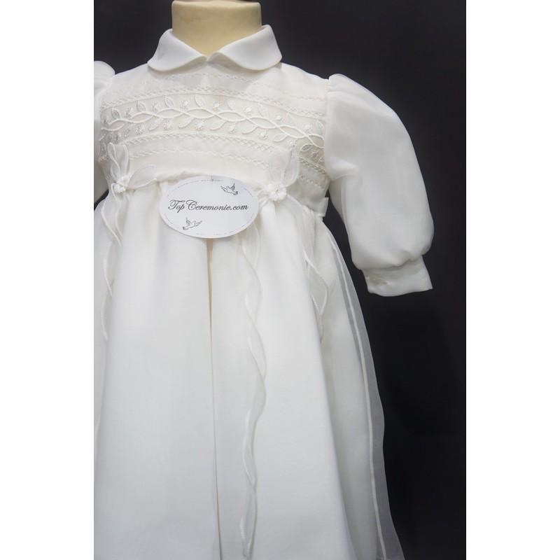 8dc95a45ec08a ... Robe cérémonie baptême blanche bébé fille manches longues CHLOE ...