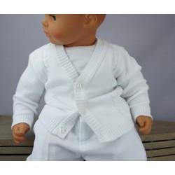 Gilet de baptême garçon maille coton blanc