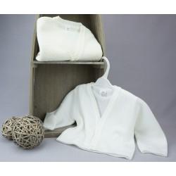 Gilet de baptême garçon maille blanc ou ivoire