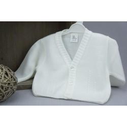 Gilet de baptême garçon maille blanc perle ou ivoire