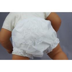 Culotte de baptême dentelle et shantung blanche