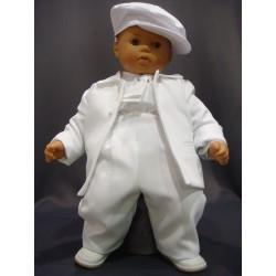 Costume de baptême garçon blanc 3 pièces RAFAEL