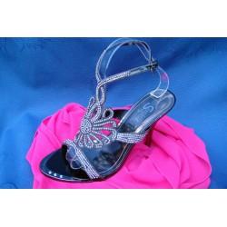 sandales à talons brides strass argenté noir 39