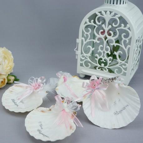 Coquille de baptême ou coupelle baptême eau bénie motifs roses