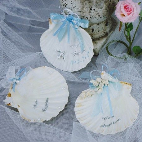 Coquille de baptême ou coupelle de baptême eau bénie motifs bleu