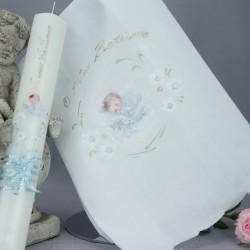 Ensemble bougie et linge blanc de baptême C-ANGE4 ange bleu couché