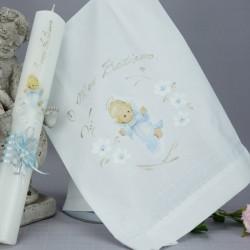 Ensemble bougie et linge blanc de baptême C-ANGE3 ange bleu debout
