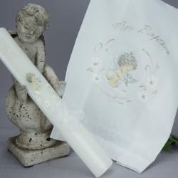 Ensemble bougie et linge blanc de baptême C-ANGE1 ange COLOMBE
