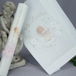 Ensemble bougie et linge blanc de baptême C-ANGE2 ange rose couronne