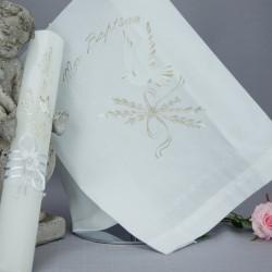 Ensemble bougie et linge blanc de baptême C3 noeud épi