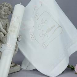Ensemble bougie et linge blanc de baptême C2 parchemin