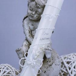 Bougie, cierge de baptême B5 blanc épi colombe