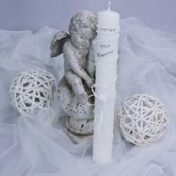 Bougie, cierge de baptême B26 blanc lacet strass