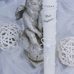 Bougie cierge de baptême B26 blanc lacet strass