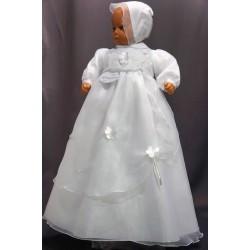 Robe longue de baptême traditionnelle blanche bébé CLEM GRISE