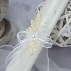 Bougie cierge de baptême B19 épi blanc
