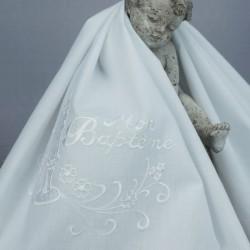 Linge lange serviette étole vêtement blanc de baptême N3