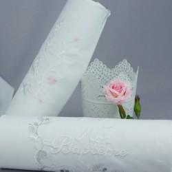 Linge lange serviette étole vêtement blanc de baptême N4