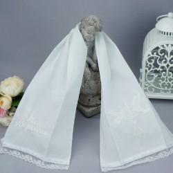 Echarpe, étole blanche de baptême Ref.01