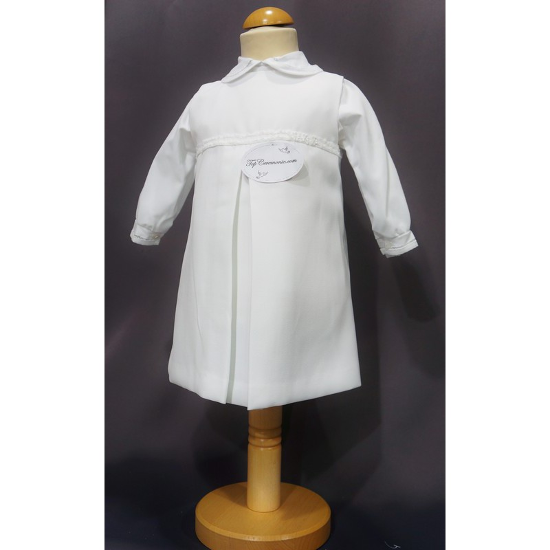 ad1051ed6e326 Robe cérémonie baptême blanche bébé fille MANON (ensemble avec manteau) ...