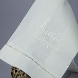 Linge lange serviette étole vêtement de baptême S5 blanc perle