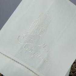 Linge lange serviette étole vêtement de baptême S6 blanc perle