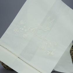 Linge lange serviette étole vêtement de baptême S7 blanc perle