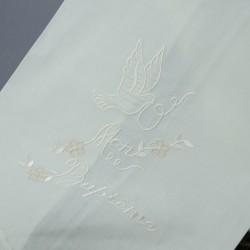Linge lange serviette étole vêtement de baptême S9 blanc perle