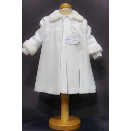 a4b745cb2417c Robe cérémonie baptême blanche bébé fille MANON (ensemble avec manteau)