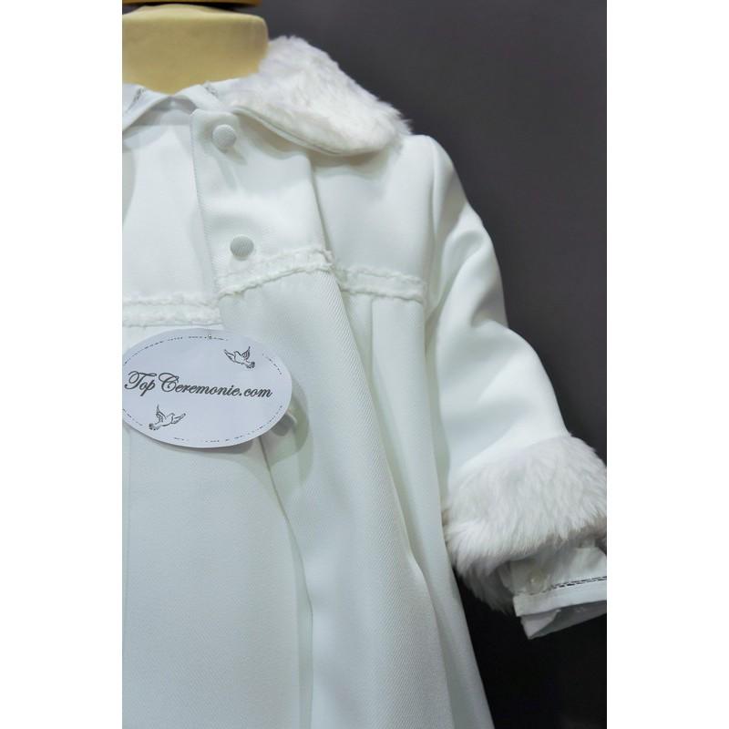 866ef54be3d17 ... Robe cérémonie baptême blanche bébé fille MANON (ensemble avec manteau)  ...