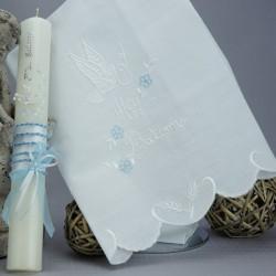 Ensemble bougie et linge blanc de baptême C5 multicouleurs satin colombe