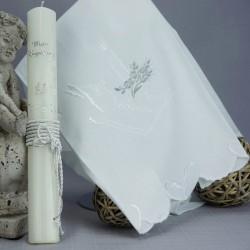 Ensemble bougie et linge blanc de baptême C4 multicouleurs livre bougie colombe