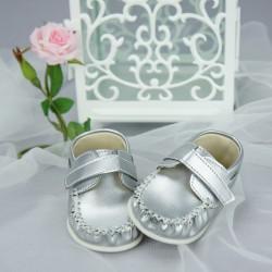 Chaussures cérémonie bébé garçon style cuir grises argent ref.M