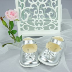 Chaussures cérémonie bébé fille aargentées Ref.162