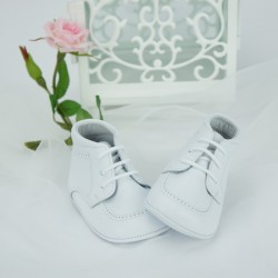Chaussures cérémonie bébé garçon blanches tout cuir ref.5397
