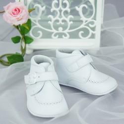 Chaussures cérémonie bébé garçon blanches tout cuir ref.5434