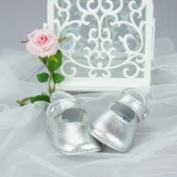 Chaussures cérémonie bébé fille argentées tout cuir Ref.2240